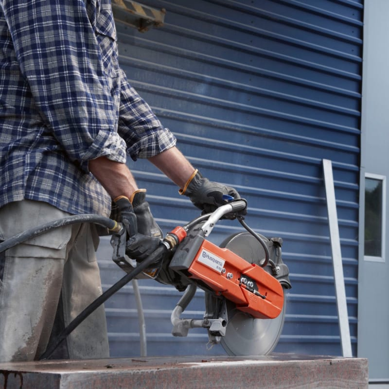 K40 Action Shot no sparks Husqvarna K40 Air Powered Disc Cutter | EC Hopkins Limited