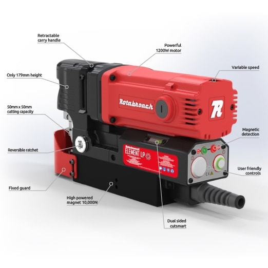 element 50 low profile spec Rotabroach Element 50LP Low Profile Mag Drill | EC Hopkins Limited