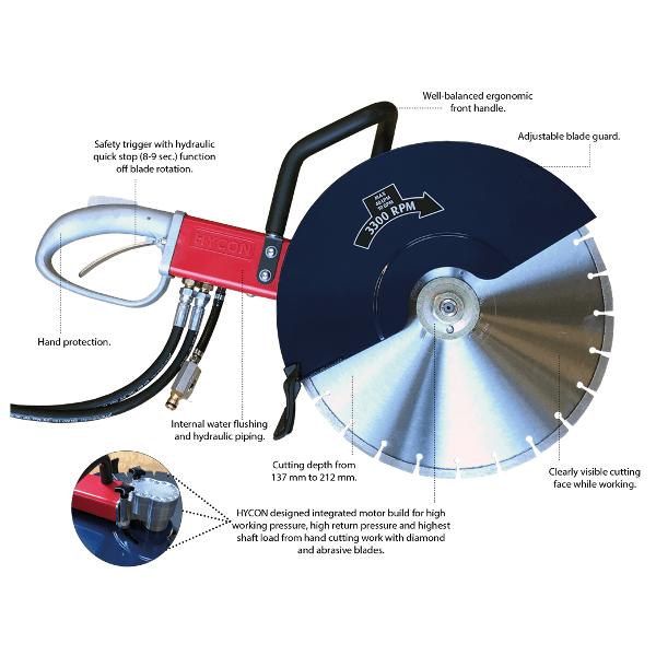 Saw Features HYCON HCS18 Hydraulic Cut Off Saw | EC Hopkins Limited