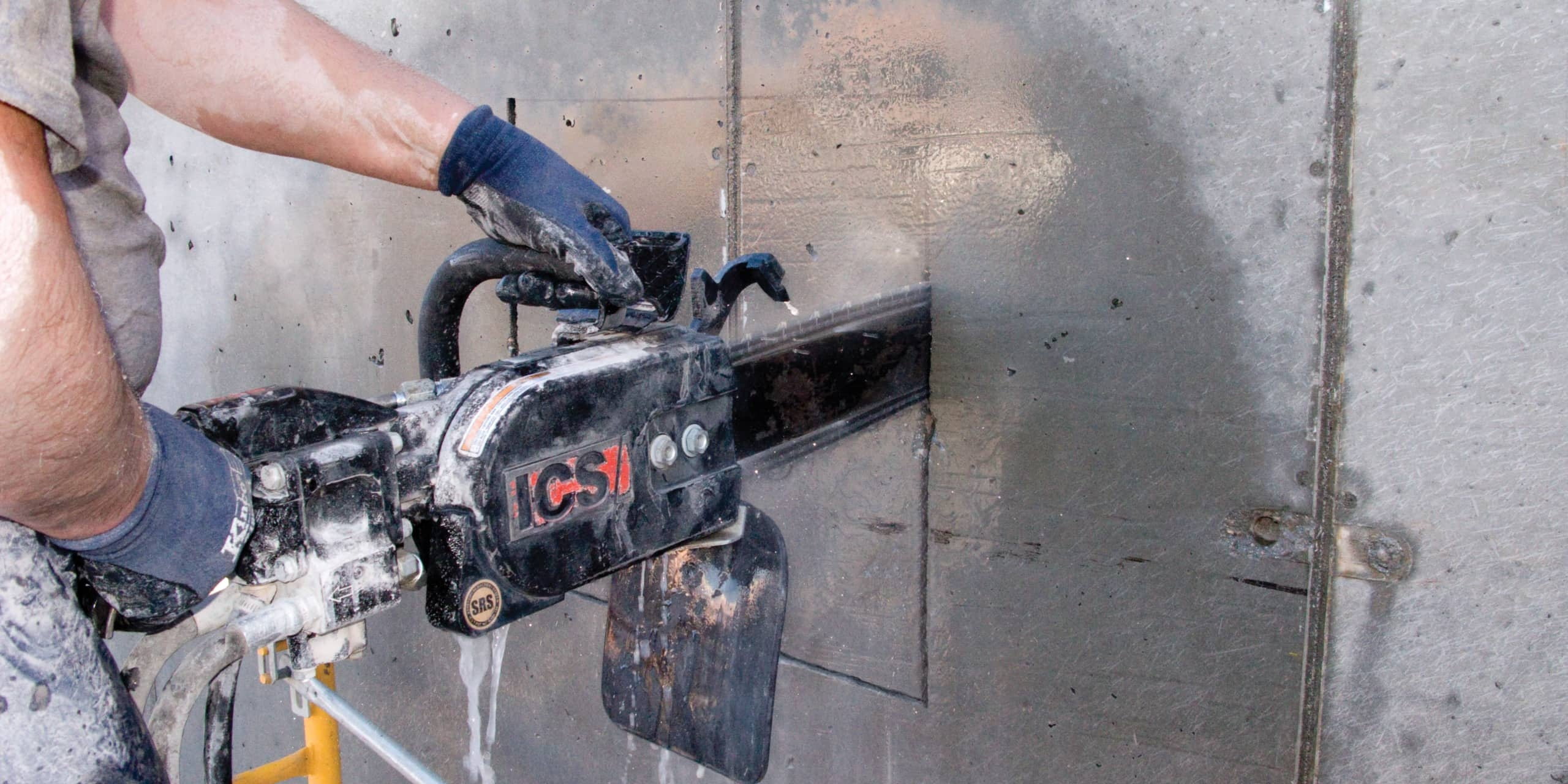 Cutting Concrete Square with a Diamond Chainsaw